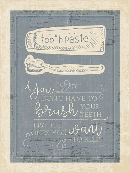 Misty Michelle MMD358 - Brush Your Teeth - 12x16 Brush Your Teeth, Toothpaste, Rustic, Bath, Bathroom, Humorous from Penny Lane