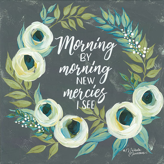 Michele Norman MN106 - Morning by Morning Wreath, Flowers, Greenery, Mercies from Penny Lane