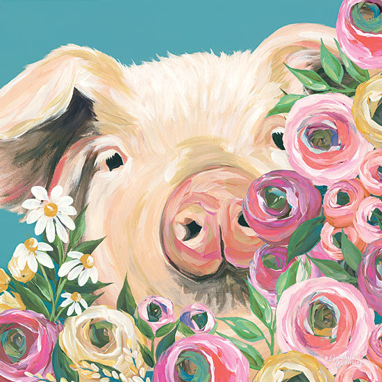 Michele Norman MN110 - Pig  - 12x12 Pig, Flowers, Daisies, Farm from Penny Lane