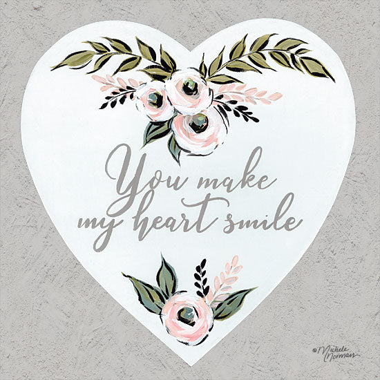 Michele Norman MN124 - You Make My Heart Smile - 12x12 My Heart Smile, Heart, Flowers, Love, Signs from Penny Lane
