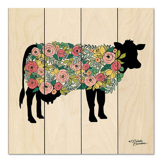 Michele Norman MN129PAL - Floral Cow Cow, Flowers, Whimsical, Farm, Botanical, Silhouette from Penny Lane