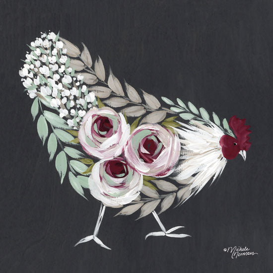 Michele Norman MN134 - Floral Hen Mint and Pink - 12x12 Rooster, Flowers, Botanical, Farm, Whimsical, Chalkboard from Penny Lane
