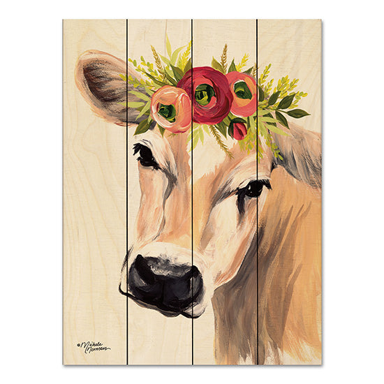 Michele Norman MN141PAL - Jersey Cow with Floral Crown Cow, Jersey Cow, Flowers, Floral Crown, Botanical, Farm from Penny Lane