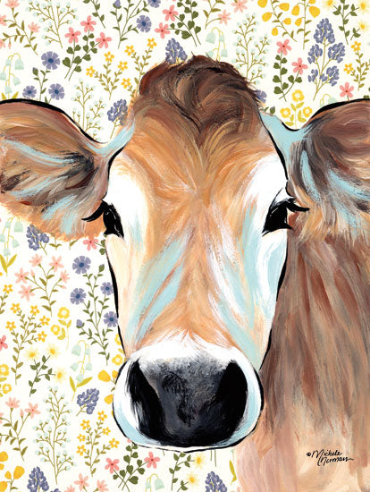 Michele Norman MN143 - Bluebell Cow - 12x16 Cow, Flowers, Botanical, Portrait, Selfie from Penny Lane