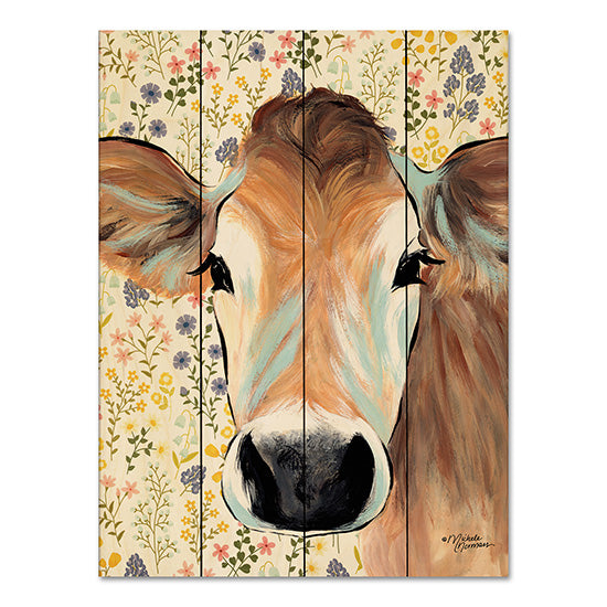 Michele Norman MN143PAL - Bluebell Cow Cow, Flowers, Botanical, Portrait, Selfie from Penny Lane