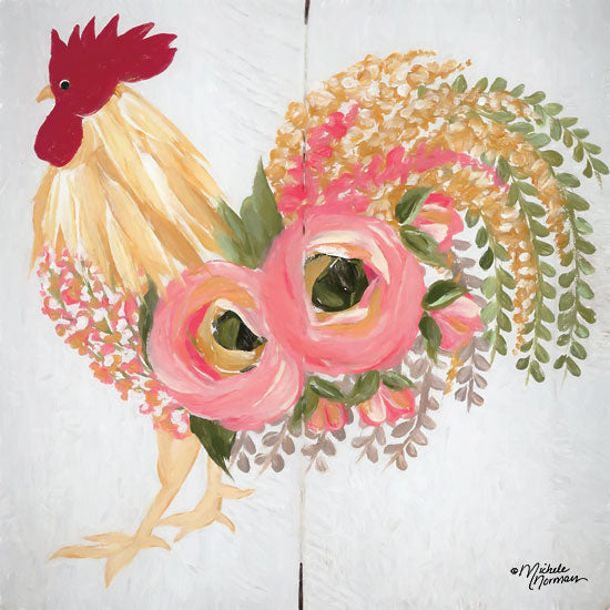 Michele Norman MN159 - Floral Rooster on White - 12x12 Rooster, Flowers, Botanical, Farm, Whimsical from Penny Lane