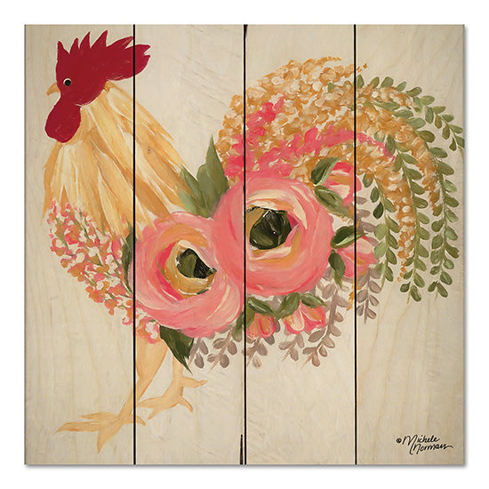 Michele Norman MN159PAL - Floral Rooster on White Rooster, Flowers, Botanical, Farm, Whimsical from Penny Lane