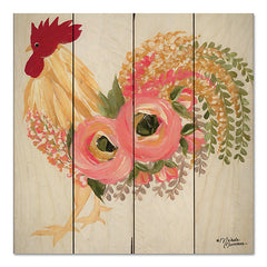 MN159PAL - Floral Rooster on White