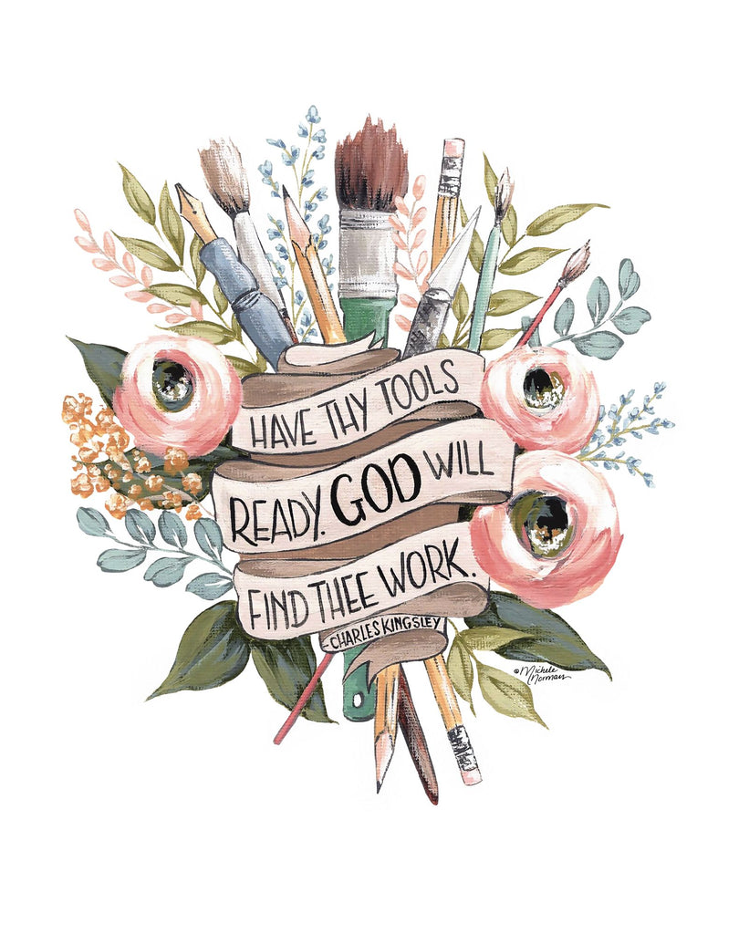 Michele Norman MN176 - MN176 - Have Thy Tools Ready - 12x16 Artists Tools, Paintbrushes, Pencils, Flowers, Banner, God, Tool Ready from Penny Lane