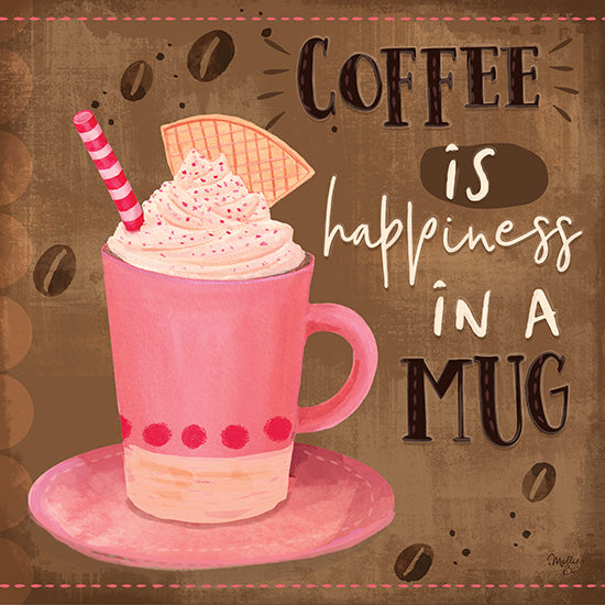 Mollie B. MOL1923 - Coffee is Happiness in a Mug - 12x12 Coffee, Happiness, Latte, Coffee Bean, Kitchen from Penny Lane