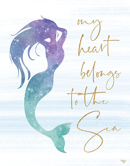 Mollie B. MOL1926 - My Heart Belongs to the Sea - 12x16 Mermaid, Signs, Sparkle, Coastal, Fantasy from Penny Lane