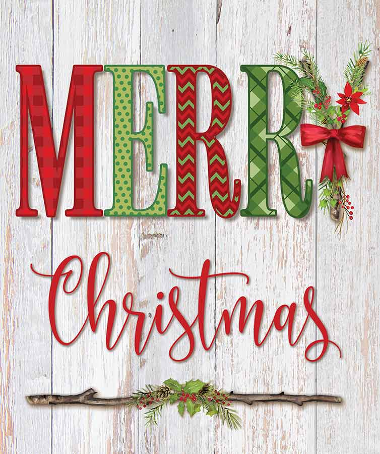 Mollie B. MOL2020 - MOL2020 - Merry Christmas - 12x16 Wood Planks, Signs, Merry Christmas, Wreath from Penny Lane