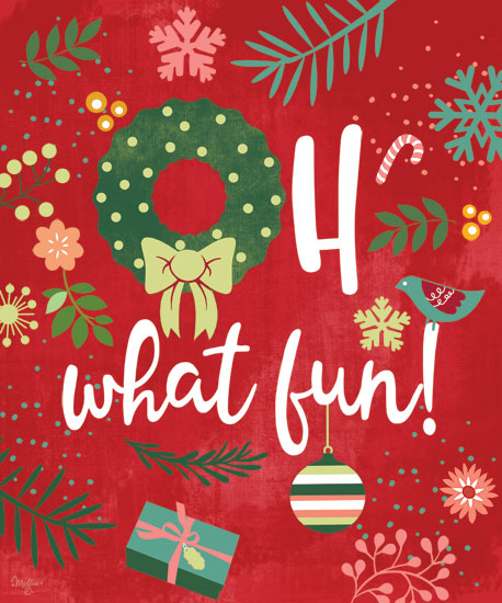 Mollie B. MOL2021 - MOL2021 - Oh What Fun! - 12x16 Signs, Christmas, Jingle Bells, Bird, Presents, Candy Cane from Penny Lane