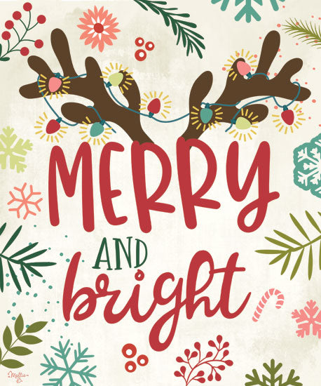 Mollie B. MOL2022 - MOL2022 - Merry and Bright - 12x16 Merry and Bright, Christmas, Signs, Reindeer, Rudolph from Penny Lane