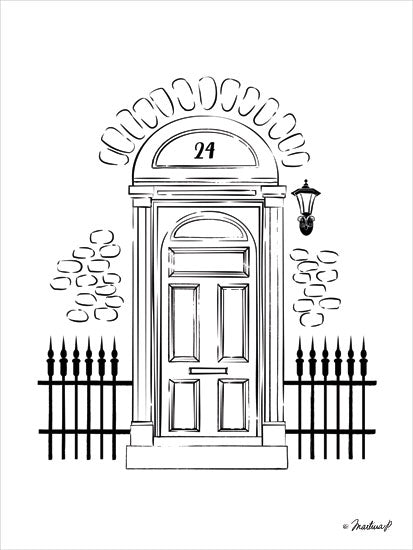 Martina Pavlova PAV162 - London Door - 12x16 Front Door, London, Iron Fence, Black & White from Penny Lane