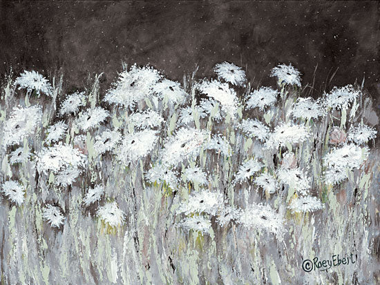 Roey Ebert REAR246 - Field of Flowers on a Starry Night - 16x12 Abstract, Flowers, Wildflowers, White Flowers, Stars, Night from Penny Lane