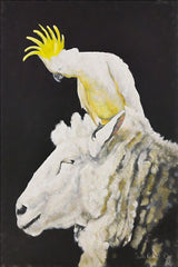 RED103 - Ewe with a Cockatoo - 12x18