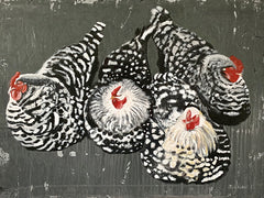 RED126 - Four Hens - 16x12