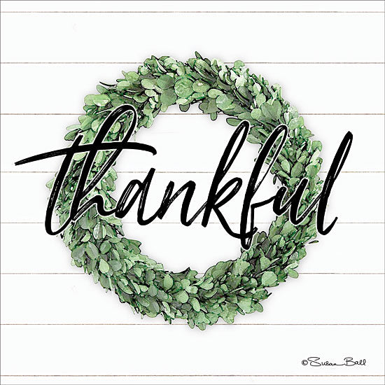 Susan Ball SB605 - Thankful Boxwood Wreath Thankful, Wreath, Shiplap, Signs from Penny Lane
