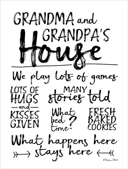 Susan Ball SB608 - Grandma and Grandpa's House Signs, Grandparents, House Rules, Family, Love from Penny Lane