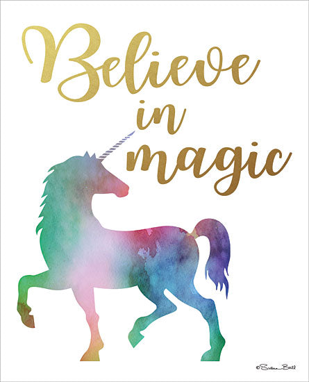 Susan Ball SB609A - SB609A - Believe in Magic - 12x16 Unicorn, Signs, Calligraphy, Fantasy, Magic,  from Penny Lane