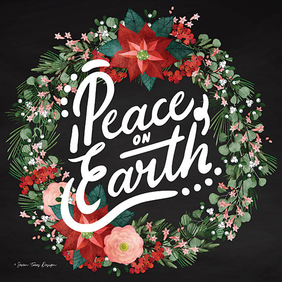 Seven Trees Design ST345 - Peace on Earth Wreath Chalkboard, Holiday, Peace on Earth, Wreath, Flowers from Penny Lane