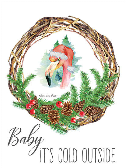 Seven Trees Design ST347 - Baby It's Cold Outside Wreath Baby It's Cold Outside, Flamingo, Wreath, Holidays from Penny Lane