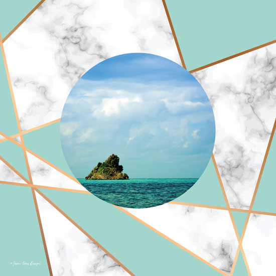 Seven Trees Design ST389 - Marble Polygonal Island Polygonal Island, Marble, Coastal from Penny Lane