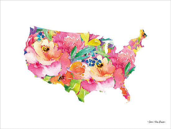 Seven Trees Design ST393 - Floral USA Map United States, Map, Silhouette, USA, Flowers from Penny Lane