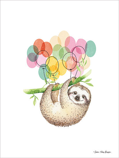 Seven Trees Design ST418 - Sloth Birthday II Sloth, Birthday, Balloons, Babies, Kid's Art from Penny Lane