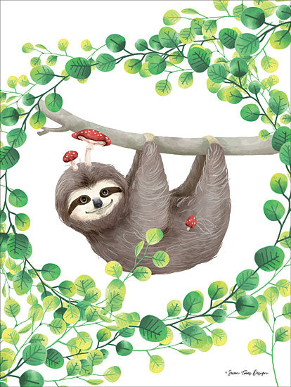 Seven Trees Design ST420 - Hanging Around Sloth I Sloth, Mushrooms, Greenery, Hanging Around from Penny Lane