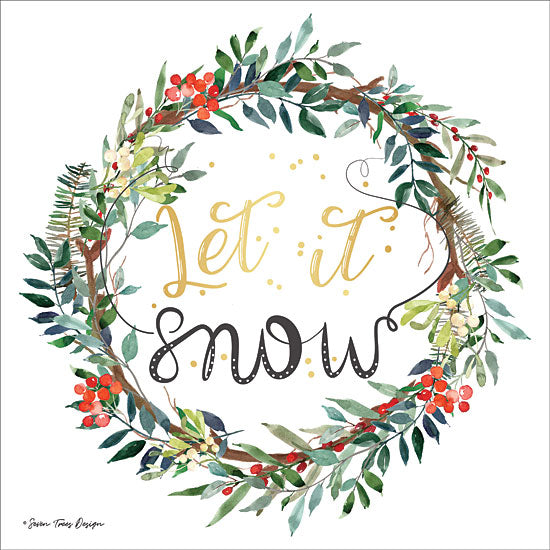 Seven Trees Design ST454 - ST454 - Let It Snow Wreath - 12x12 Signs, Wreath, Christmas, Typography, Christmas Ivy, Let it Snow, Songs from Penny Lane