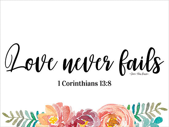 Seven Trees Design ST462 - Floral Love Never Fails - 16x12 Love Never Fails, Bible Verse, Corinthians, Flowers from Penny Lane