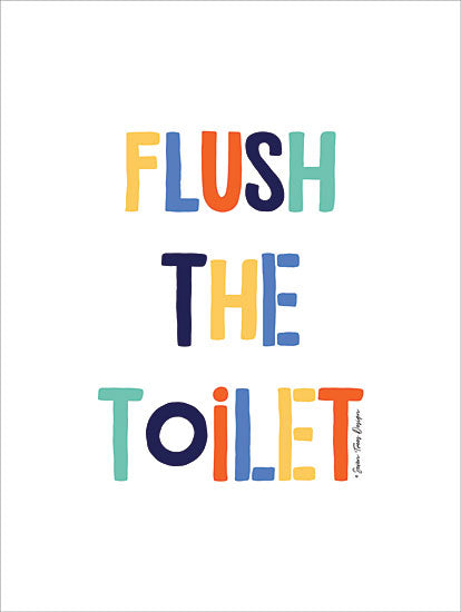 Seven Trees Design ST465 - Flush the Toilet - 12x16 Bath, Toilet, Rainbow Colors, Kids Art, Humorous from Penny Lane