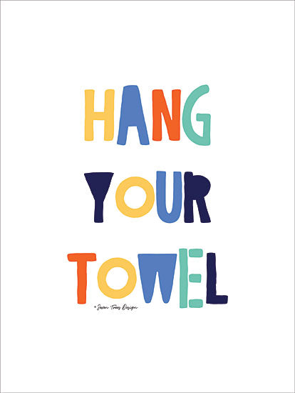 Seven Trees Design ST466 - Hang Your Towel - 12x16 Bath, Towel, Rainbow Colors, Kids Art, Humorous from Penny Lane
