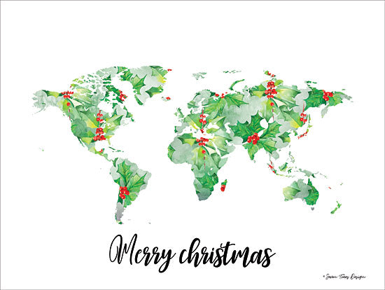 Seven Trees Design ST473 - Merry Christmas World - 16x12 Holiday, World, Map, Travel, Holly, Berries, Calligraphy from Penny Lane