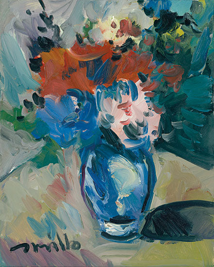 Jose Trujillo TRU104 - Blue Vase - 12x16 Flowers, Vase, Vase of Flowers, Abstract, Botanical, Impressionism from Penny Lane