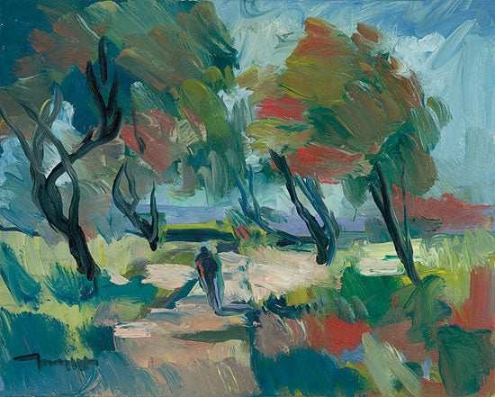 Jose Trujillo TRU106 - Early Walk - 16x12 Abstract, Landscape, Figurative, Walk, Walking, Path, Trees, Impressionism from Penny Lane