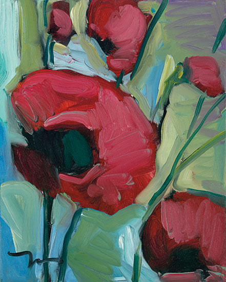 Jose Trujillo TRU109 - Poppies - 12x16 Flowers, Poppies, Abstract, Botanical, Impressionism from Penny Lane