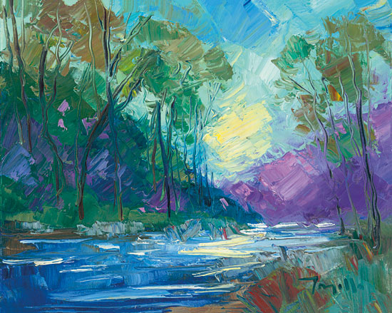 Jose Trujillo TRU110 - Early Light Impressions - 16x12 Abstract, Landscape, Mountains, River, Trees, Morning, Sunlight, Impressionism from Penny Lane