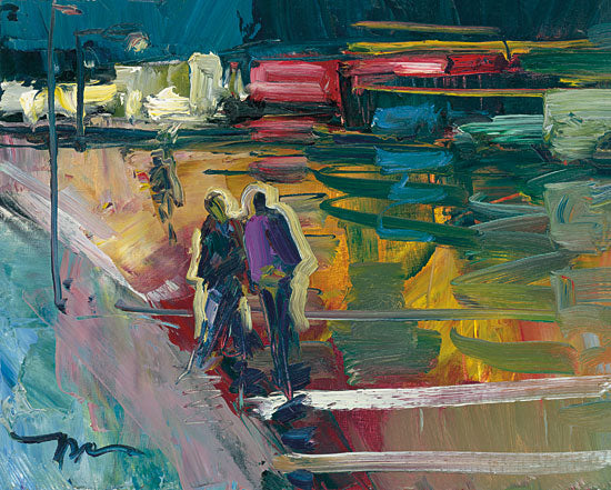 Jose Trujillo TRU113 - Night Stroll - 16x12 Night Stroll, Abstract, Evening Walk, Walking, Couple, Figurative, Street, Impressionism from Penny Lane