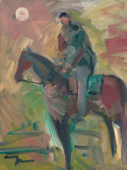 Jose Trujillo TRU120 - Desert Horseman - 12x16 Horseman, Horse, Riding, Desert, Sun, Nature, Abstract, Impressionism from Penny Lane