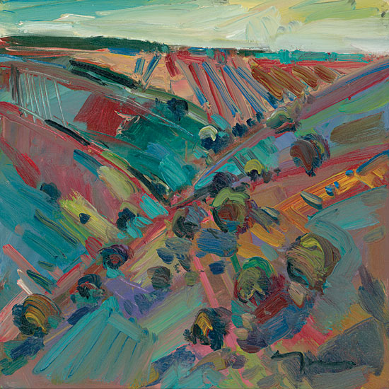 Jose Trujillo TRU124 - Rolling Hills - 12x12 Abstract, Landscape, Hills, Impressionism from Penny Lane