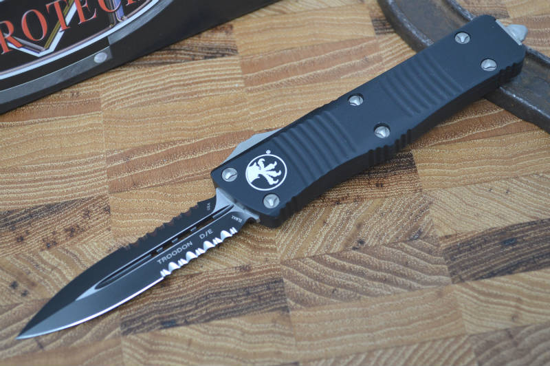 Microtech Troodon OTF - Double Edge / Black Partial Serrated Blade - 138-2 - Northwest Knives