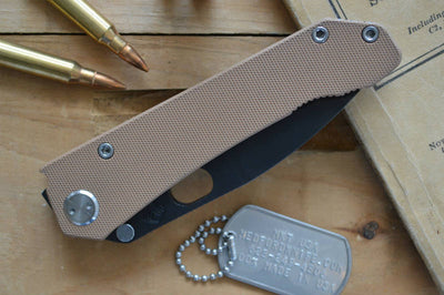 Medford Knife & Tool 187DP - D2 Steel & Tan G10 - Manual Folder