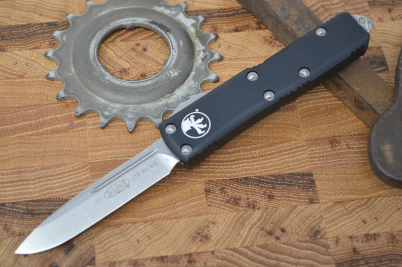 Microtech UTX-85 OTF - Single Edge / Stonewash Blade / Black Body - 231-10 - Northwest Knives