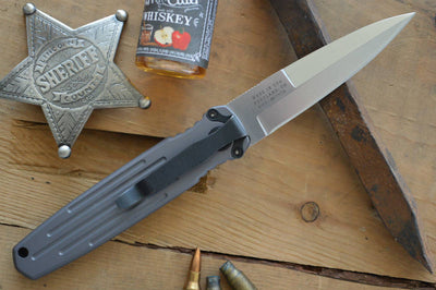 Gerber Covert Push Button Knife - Gray w/ Satin S30V Blade- Automatic Knife