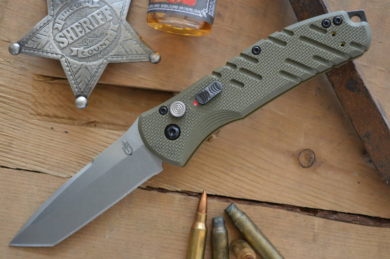 Gerber Propel Downrange Auto - Green G10 w/ Satin Tanto S30V Blade- Automatic Knife - Northwest Knives