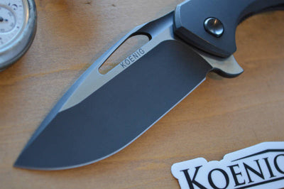 Koenig Arius - Distressed DLC Handles and Distressed DLC Blade & Polished Flats - Northwest Knives