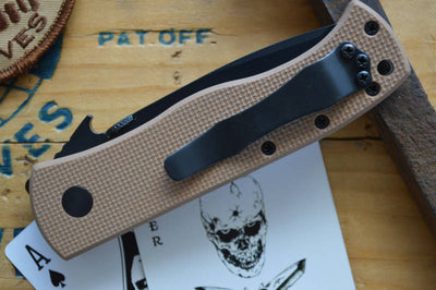 Emerson Knives CQC-7 w/ Wave Feature - Black Tanto Blade / Tan G10- Manual Folder